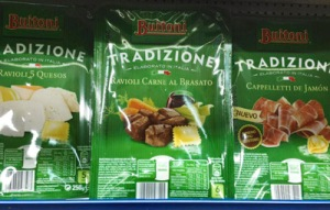 Packages of Buitoni meat ravioli are pictured on display on a supermarket shelf in Madrid